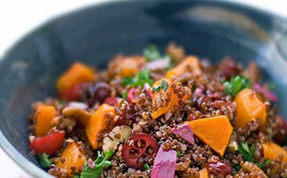 Today's recipe is perfect for Fall. It's a beautiful red quinoa recipe I tossed together one weeknight, featuring roasted butternut squash, cranberries and pecans. Classic Autumn flavors. Gorgeous color.
