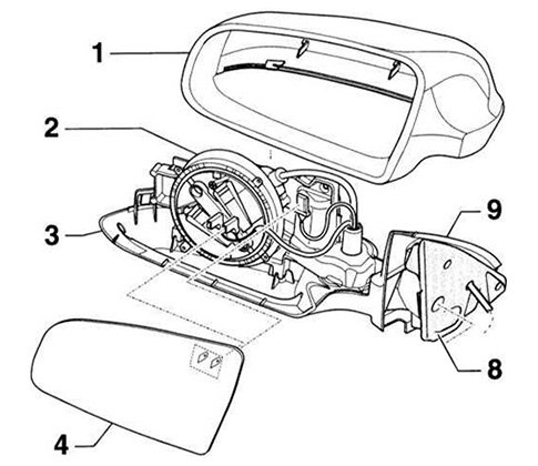 Exploded View Of Side View Mirror Assembly Southwest
