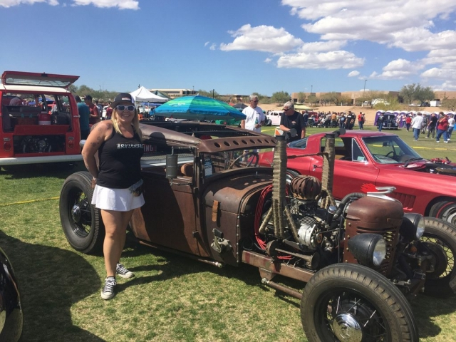 Rachel with Custom Rat Rod